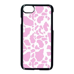 White Pink Cow Print Apple Iphone 8 Seamless Case (black)