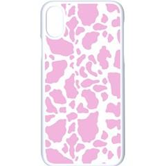 White Pink Cow Print Apple Iphone X Seamless Case (white)