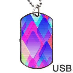 Squares Color Squares Background Dog Tag Usb Flash (two Sides)