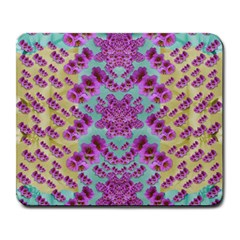 Climbing And Loving Beautiful Flowers Of Fantasy Floral Large Mousepads by pepitasart
