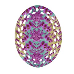 Climbing And Loving Beautiful Flowers Of Fantasy Floral Oval Filigree Ornament (two Sides) by pepitasart