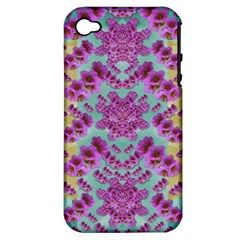 Climbing And Loving Beautiful Flowers Of Fantasy Floral Apple Iphone 4/4s Hardshell Case (pc+silicone)