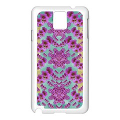 Climbing And Loving Beautiful Flowers Of Fantasy Floral Samsung Galaxy Note 3 N9005 Case (white) by pepitasart