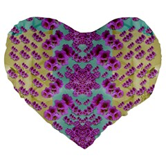 Climbing And Loving Beautiful Flowers Of Fantasy Floral Large 19  Premium Flano Heart Shape Cushions by pepitasart