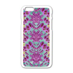 Climbing And Loving Beautiful Flowers Of Fantasy Floral Apple Iphone 6/6s White Enamel Case
