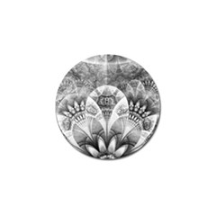 Black And White Fanned Feathers In Halftone Dots Golf Ball Marker by jayaprime