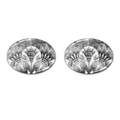 Black And White Fanned Feathers In Halftone Dots Cufflinks (oval)