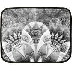 Black And White Fanned Feathers In Halftone Dots Double Sided Fleece Blanket (mini)