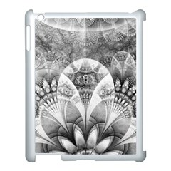 Black And White Fanned Feathers In Halftone Dots Apple Ipad 3/4 Case (white) by jayaprime