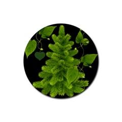 Decoration Green Black Background Rubber Coaster (round)