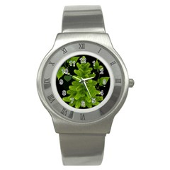 Decoration Green Black Background Stainless Steel Watch