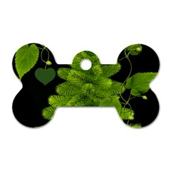 Decoration Green Black Background Dog Tag Bone (one Side) by Sapixe