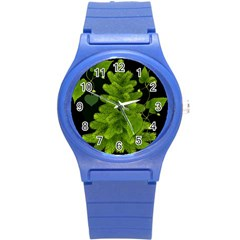 Decoration Green Black Background Round Plastic Sport Watch (s)