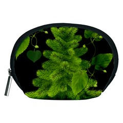 Decoration Green Black Background Accessory Pouches (medium)