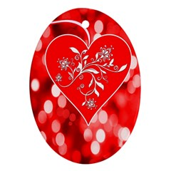 Love Romantic Greeting Celebration Ornament (oval) by Sapixe
