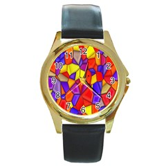 Mosaic Tiles Pattern Texture Round Gold Metal Watch