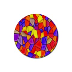 Mosaic Tiles Pattern Texture Rubber Round Coaster (4 Pack)