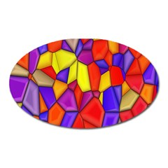 Mosaic Tiles Pattern Texture Oval Magnet
