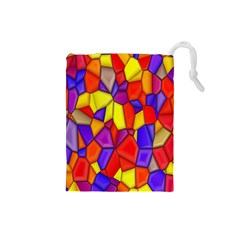 Mosaic Tiles Pattern Texture Drawstring Pouches (small)  by Sapixe