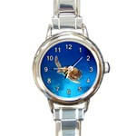 SWIMMING SEA TURTLE ROUND CHARM WATCH