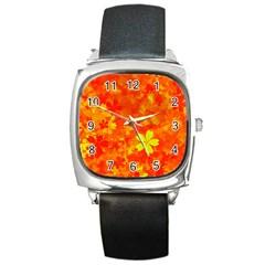 Background Reason Pattern Design Square Metal Watch