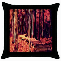 Forest Autumn Trees Trail Road Throw Pillow Case (black)