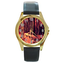 Forest Autumn Trees Trail Road Round Gold Metal Watch