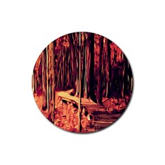 Forest Autumn Trees Trail Road Rubber Coaster (round)