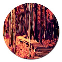 Forest Autumn Trees Trail Road Magnet 5  (round) by Sapixe