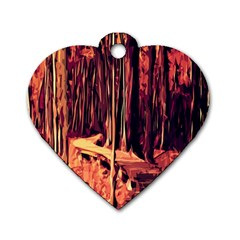 Forest Autumn Trees Trail Road Dog Tag Heart (two Sides)