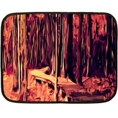 Forest Autumn Trees Trail Road Fleece Blanket (mini) by Sapixe