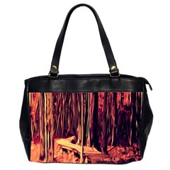 Forest Autumn Trees Trail Road Office Handbags (2 Sides)