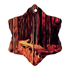 Forest Autumn Trees Trail Road Ornament (snowflake)