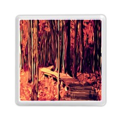 Forest Autumn Trees Trail Road Memory Card Reader (square)  by Sapixe