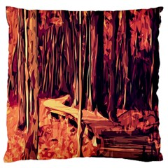 Forest Autumn Trees Trail Road Large Cushion Case (one Side)