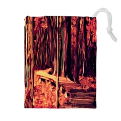 Forest Autumn Trees Trail Road Drawstring Pouches (extra Large)