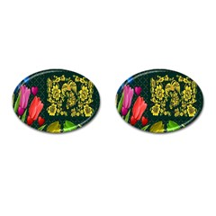 Background Reason Tulips Colors Cufflinks (oval)