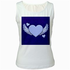 Background Texture Heart Wings Women s White Tank Top