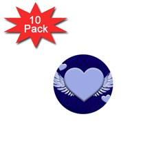 Background Texture Heart Wings 1  Mini Buttons (10 Pack)