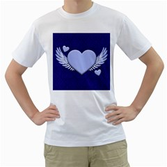 Background Texture Heart Wings Men s T Shirt (white) (two Sided)