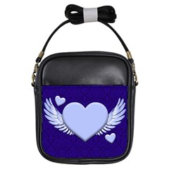 Background Texture Heart Wings Girls Sling Bags