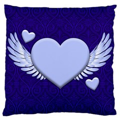 Background Texture Heart Wings Large Flano Cushion Case (one Side)