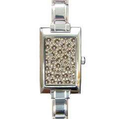 Background Flowers Rectangle Italian Charm Watch