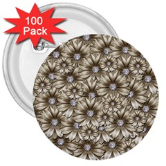 Background Flowers 3  Buttons (100 Pack)