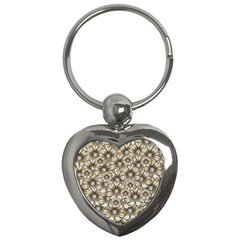 Background Flowers Key Chains (heart)
