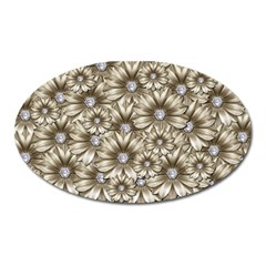 Background Flowers Oval Magnet