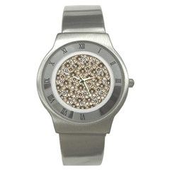 Background Flowers Stainless Steel Watch