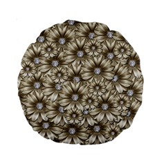 Background Flowers Standard 15  Premium Round Cushions by Sapixe