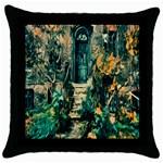 Porch Door Stairs House Throw Pillow Case (Black) Front