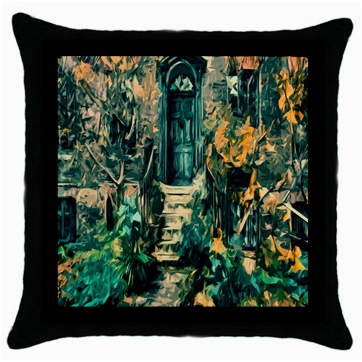 Porch Door Stairs House Throw Pillow Case (Black)